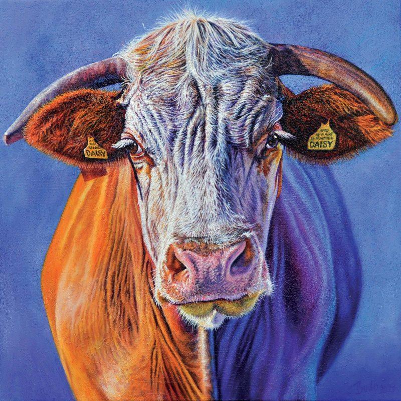 Portrait of a cow with a blue background painted in oil on canvas;Kuhporträt vor blauem Hintergrund gemalt in Öl auf Leinwand