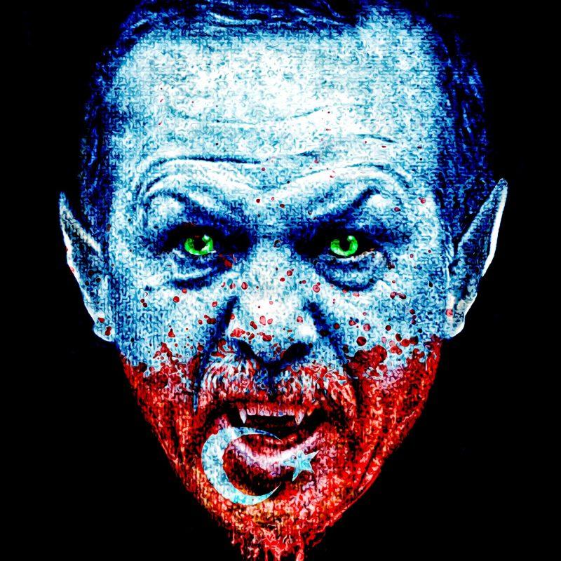 The Turkish President as a vampire who has blood stains of the Turkish nation symbolized by the turkish flag in his face.Der türkische Präsident Erdogan dargestellt als Vampir mit Blutflecken der türkischen Flagge im Gesicht.